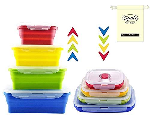 Sycle circle Confezione da 4contenitori per alimenti set pieghevole in silicone senza BPA pieghevole pranzo Bento box impilabile da cucina organiser forno microonde