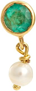 Gehna 22KT Yellow Gold, Emerald and Pearl Nose Pin for Women