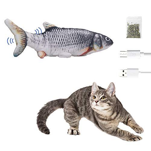 MICOOYO Katzenspielzeug Fisch Elektrisch, Katze Interaktive Spielzeug USB Elektrische mit Katzenminze Kauen Spielzeug für Katze zu Spielen, Beißen, Kauen und Treten (Graskarpfen)