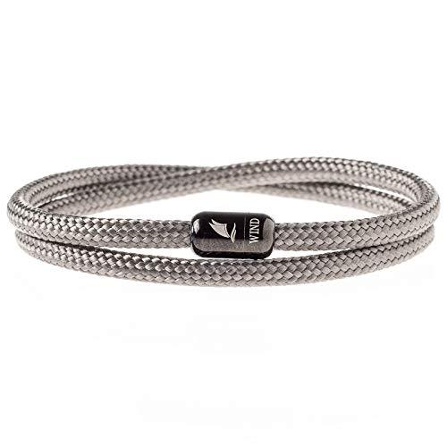 Wind Passion Armband Grau Unisex Maritim Segeltau mit Magnetverschluss für Männer und Frauen, Größe Large