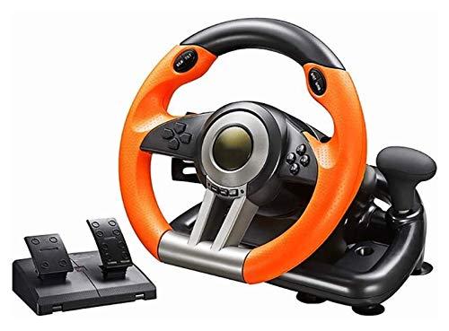 WYJW PC-Lenkradspiel PC-Rennrad, 180-Grad-Universal-USB-Auto SIM Race-Lenkrad mit Pedalen für PS3, PS4, Xbox One, Nintendo-Schalter (Farbe: Orange)