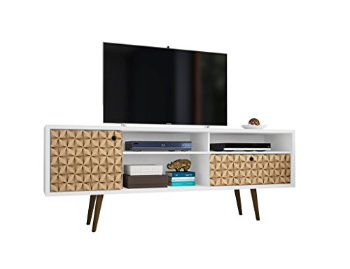 Manhattan 202AMC67 Comfort - Mueble para televisor (tamaño grande), color blanco y marrón