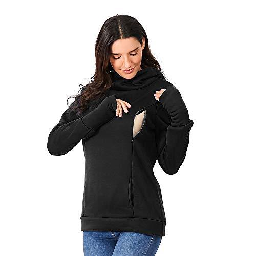 SANFASHION 2019 Hiver Nouveau Sweat Shirt Maternité,Blouse Unis Tops Coton Allaitement Encapuchonné Manche Longue Sweat Poche Haut Casual Hiver Hoodie Outwear Chic Mode (L, X- Noir)