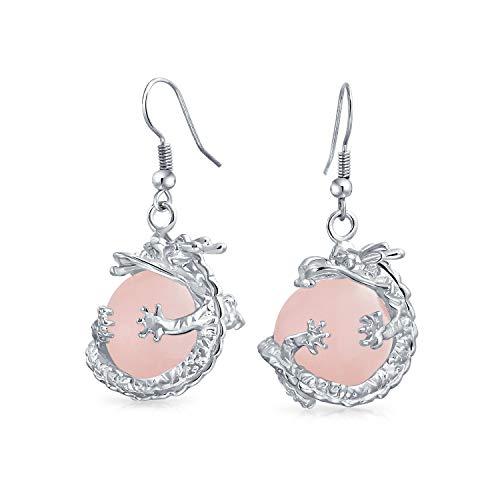 Mode Trendy Pink Rose Quarz Edelstein Runde Kugel Baumeln Gewickelt Orb Chinesische Asiatische Drachen Ohrringe