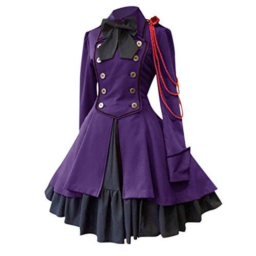 Cinnamou Robe de Princesse Mode des Femmes Vintage Gothique Tribunal carré Patchwork Lace-up Robe de Princesse Médiéval Plissé Robes Grande Taille Lolita Robes