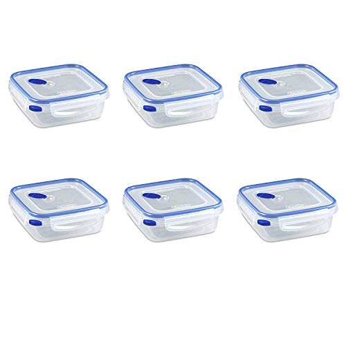 Sterilite 03314706 Ultra Seal 4.0 Cup Square Food Storage Container, Clear and Blue, Pack of 6
