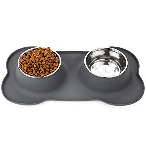 DogBuddy Dog Bowls, Dog Bowl for Food & Water, Dog Food Bowls for Medium & Large Dogs, Stainless Steel Dog Bowls, Dog Feeder with Dog Bowl Mat, Pet Bowl & Pet Food Mat Set (Large, Shadow)