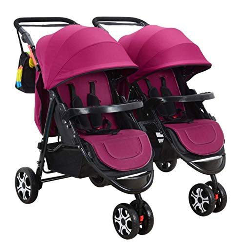 Read About Double Stroller, Twin Tandem Baby Stroller, 5 Points Safety Belts, Foldable Design for Ea...