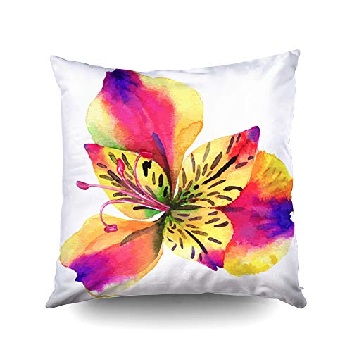 ROOLAYS Decorative Throw Square Pillow Case Cover 16X16Inch,Cotton Cushion Covers Single Flower Beautiful Watercolor Both Sides Printing Invisible Zipper Home Decor Pillowcase