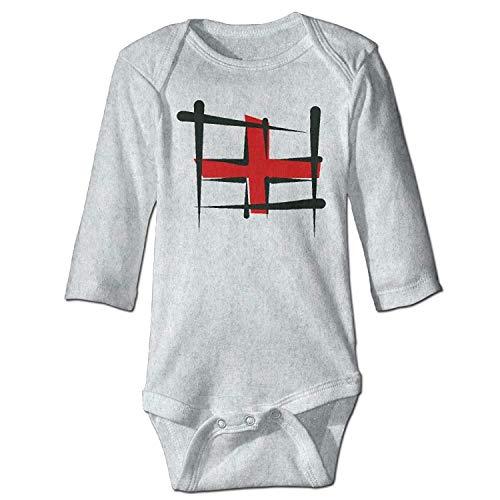 Unisex Infant Bodysuits England Brush Flag Girls Babysuit Long Sleeve Jumpsuit Sunsuit Outfit Ash