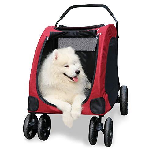 GPR ペットカート 犬用ベビーカー 犬 カート 猫 バギー 大型犬 多頭中小型犬・猫 3色 四輪 多頭用 介護用 多機能 軽量 折りたたみ 組み立て簡単 耐荷重60Kg (レッド)