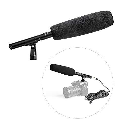 Zwbfu Micrófono de Condensador de aleación de Aluminio Profesional, micrófono de cámara de Video, patrón súper cardioide con Soporte de Choque, Cable XLR de 3,5 mm para videoconferencia, Parabrisas
