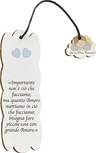 Fabula Prima Comunione - Set pz 3 Segnalibri Personalizzabili (2,80€/pz) Modello Frase su Legno con Pendaglio - Dimensioni cm 5x15 - Spessore mm 4 - cod. 160155G