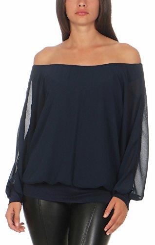 Malito Damen Chiffon Langarm Bluse | Tunika mit weiten Ärmeln | Blusenshirt mit breitem Bund | elegant - schick 6291 (dunkelblau)