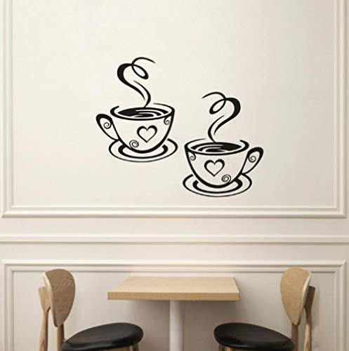 Sticker Decals behang een paar koffie bekers bedrukt muur Stickers creatieve keuken decoraties muur Stickers