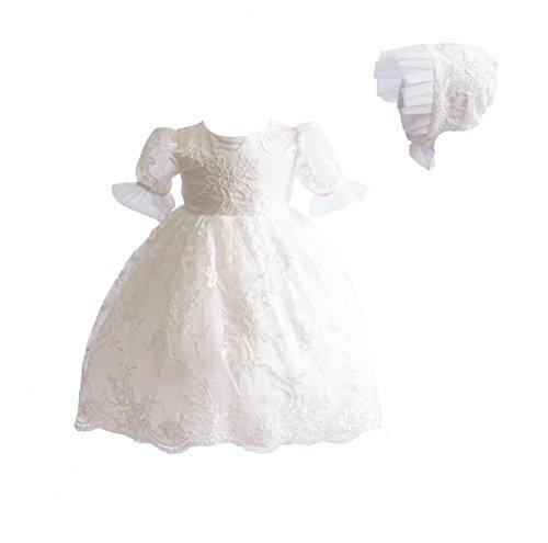 Cinda Vestido de Bautismo de Encaje de bebé y bonete 0-3 Meses