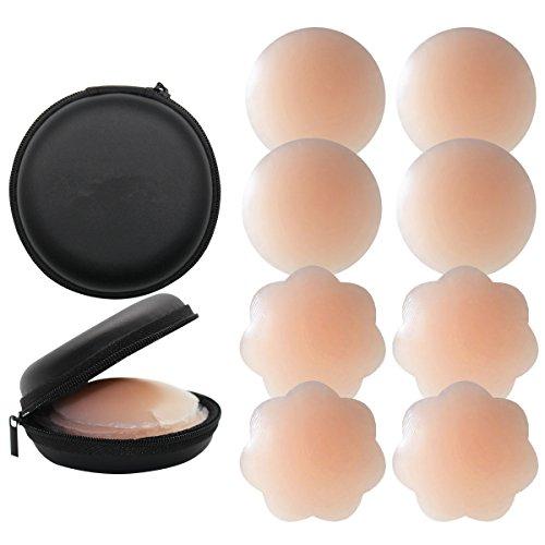 KQueenStar Nipple Cover - Silikon Nippelabdeckung Gel Brustwarzenabdeckung Selbstklebend & Wiederverwendbar Brust Aufkleber unter BH, M, Farbe Flower +Round