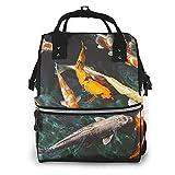 AOOEDM Koi Fish Mochila grande para bolsa de pañales, Mochila multifuncional impermeable para momias para mamás y papás de maternidad
