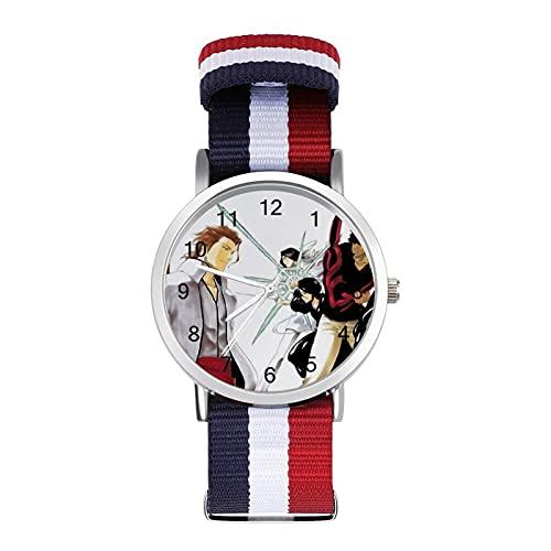 腕時計 潮流 青少年 ファッション 風 腕時計 かわいい 男女兼用 目盛りウォッチ 赤 白 濃紺 三色 編組ベルト 腕時計 Bleach 尸魂界.