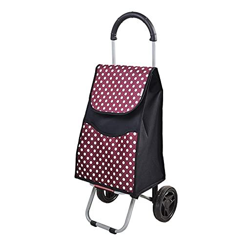 BIAOYU Carrito de compras plegable Carro de mano portátil para remolque, escaleras, carrito de la compra para compras, equipaje de viaje reutilizable (color: rojo)