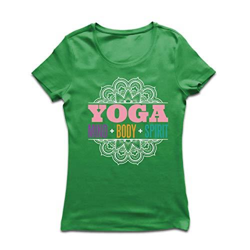 lepni.me Frauen T-Shirt Spirituelle Meditation Yoga - Geist, Körper, Geist, Geschenk für Yogini (Small Grün Mehrfarben)