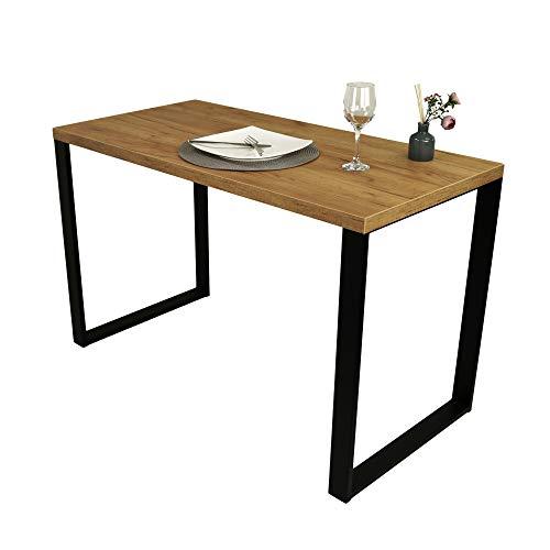 POKAR Mesa De Comedor Mesa De Cocina Mesa De Comedor Sólida con Patas De Metal Negro 120 x 60 cm, Roble Artesanal Dorado ⭐
