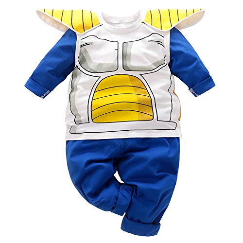 Kids Toddler Infant Baby Boys Clothes Halloween Cosplay Funny Tops Sweatsuit+Pants Outfit Set Blue