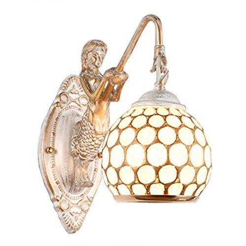 E27 Tiffany-Art-Wandlampe Warmes Gelbes Buntglas Meerjungfrau Wandleuchten Retro Elegant Metall Wand Leuchte Wandeinbauleuchte Treppenspot Einbauleuchte Geeignet Für Restaurants, Bars, Clubs, Gänge