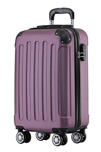 BEIBYE Hartschalen-Koffer Trolley Rollkoffer Reisekoffer Handgepäck 4 Rollen (M-L-XL-Set) (Violett, M)