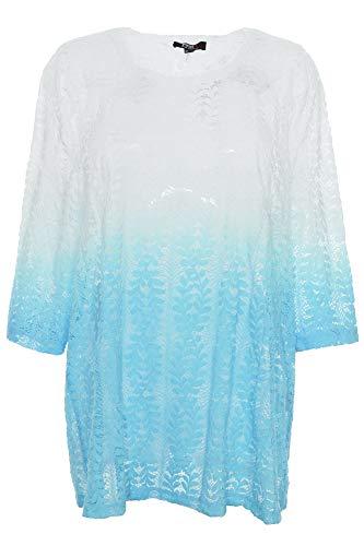 X-Two Yesta by T Shirt Tunika Damen Spitze Lagenlook Kurzarm Plusgröße, Farbe:türkis, Damengrößen:50