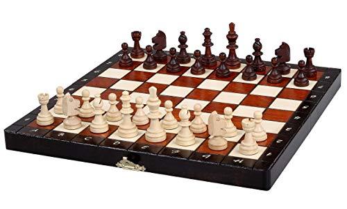 KADAX Juego de ajedrez magnético con figuras de madera, elegante caja de ajedrez, tamaño compacto, regalo para niños, incluye imanes e inserto de fieltro, tablero de ajedrez (28 x 28 cm)