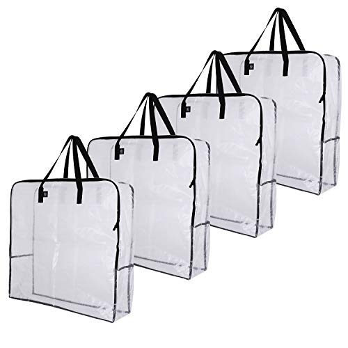 VENO Over-Sized Clear Storage Bag W/Strong Handles and Zippers for College Carrying, Moving, Christmas Decorations Storage, Under The Bed Storage, Garage Organizer, Made of Recycled Material (4-Pack)