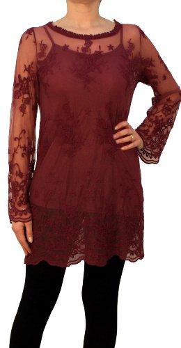 08516 PERANO Damen Bluse Tunika Spitzenbluse Farbe Bordo Rot Konfektionsgröße 42 Internationale Größe XL bordorot Gr. 42/XL