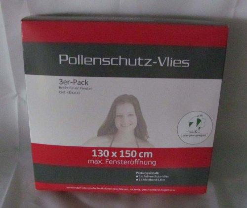 3 Stück Pollenschutz - Vlies - Allergiker geeignet - Pollenschutznetz 130 x 150 cm, mit Befestigung, weiss