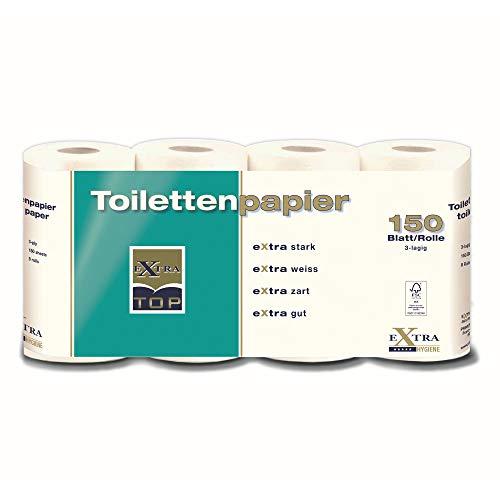 Extra Top Toilettenpapier, Rolle mit je 150 Blatt, eXtra stark, eXtra Weiß, eXtra zart, eXtra gut, Klopapier, WC-Papier