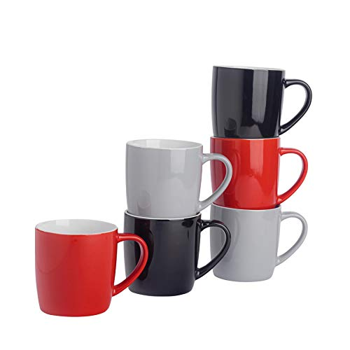 Argon Tableware Tasses à thé/café en céramique - coloré/Moderne - 340 ML - Rouge/Noir/Gris - Lot de 6