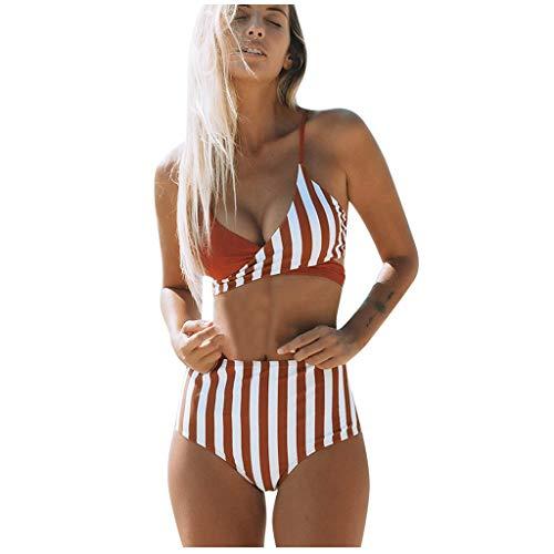 Janly Clearance Sale Traje de baño de dos piezas, traje de baño para mujer, traje de baño push-up acolchado a rayas, traje de baño, ropa de playa de verano, naranja, XL