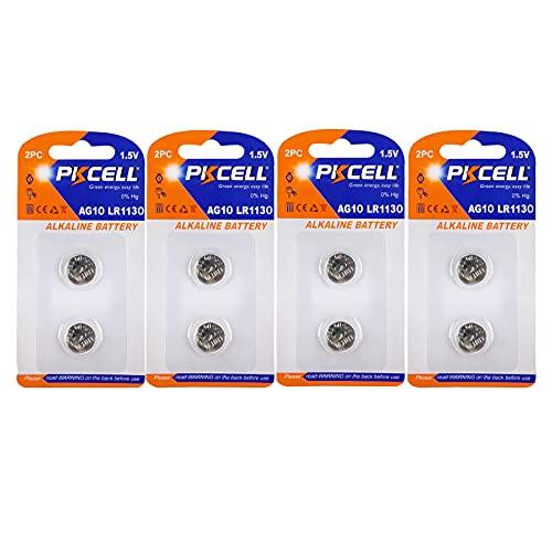 PKCELL AG10 LR1130/189/LR54 Alkaline-Knopfzellen-Batterien, 1,5 V, 8 Stück