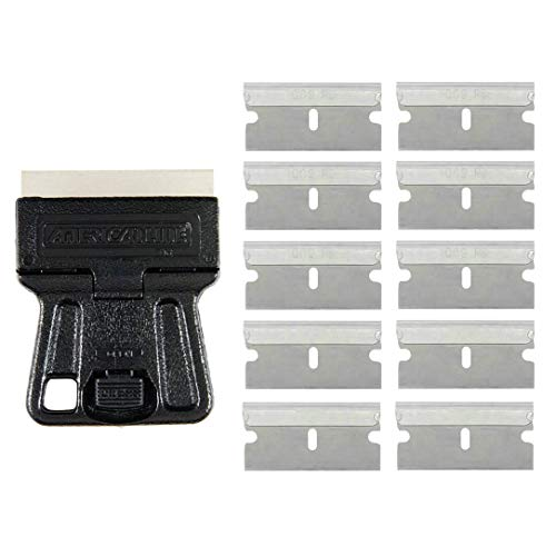 Mini Plastic Glass Scrape with 10Pcs Safety Razor Blade Single Edge Blades for Stickers Label Glue Adhesive Removal, Ceramic Glass Window Cleaning