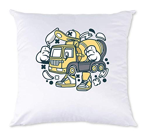 Iprints Cartoon Styled Constructie Beton Mixer Truck White Pillow