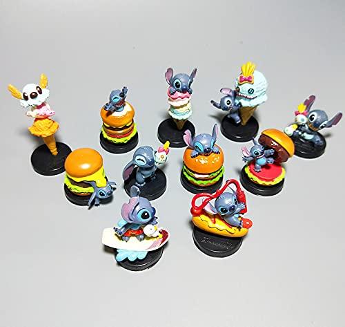 11 Piezas Stitch Coche Decoración Juguete Clásico Dibujos Animados Dibujos Animados Pastel Escena Micro Paisaje Decoración