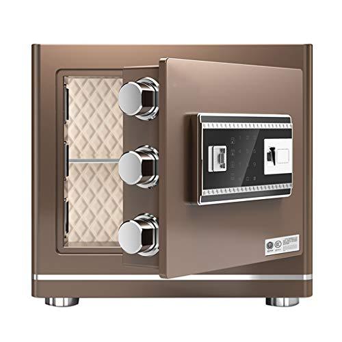 TYLZDZ Safes Safes - Caja fuerte pequeña para el hogar (2 colores, contraseña de huellas dactilares, doble desbloqueo, invisible y práctico gabinete antirrobo (color marrón, tamaño: 38 x 30 x 35 cm)