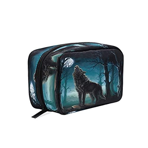 BOLOL - Bolsa de maquillaje con diseño de lobo de animales y lunas, bolsa de aseo grande para mujeres y niñas, organizador portátil Forest Wolf