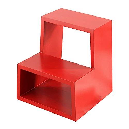 FSYGZJ -Escaleras Taburete de Escalera Taburete de Escalera Taburete de Madera Maciza Taburete de Almacenamiento para el hogar Banco de Zapatos Multiusos Escalera Puerta (Color: Rojo, tamaño: 40 *