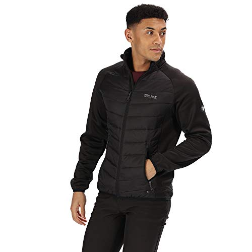 Regatta Bestla Herren Hybrid-Jacke, leicht, wasserabweisend und isoliert, Stretch, Steppjacke, Black/Magnet, 58-60 EU (Herstellergröße: XXL)