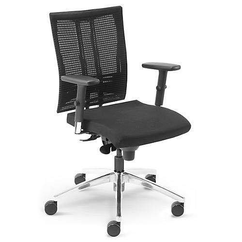 Bürostuhl Schreibtischstuhl NET Motion mit Multifunktions-Armlehnen und Rollen für Teppichböden, schwarz
