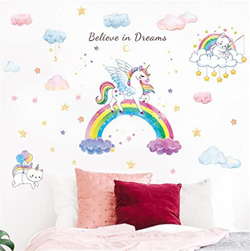 Pegatina de pared con combinación de unicornio arco iris, bonito poni de dibujos animados grandes calcomanías decorativas para embellecer el espacio, para niñas y niños, dormitorio, sala de estar