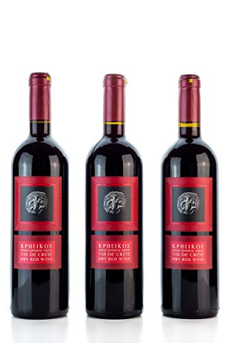 3x 750ml Vin de Crete Rotwein trocken 12% Michalakis kretischer roter Wein griechischer Tafelwein im 3er Set + 10ml Olivenöl zum testen