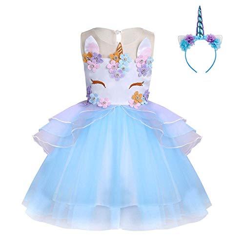 FONLAM Vestido de Fiesta Princesa Niña Bebé Disfraz de Unicornio Ceremonia Cumpleaños Vestido Infantil Flores Carnaval Niña Cosplay (Azul, 3 Años)