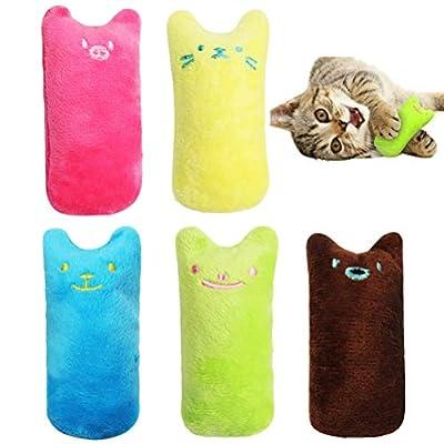 zhuochuan 5 Pcs Cat Catnip Toys, Creative Pillow Scratch Pet Cartoon Square Catnip Pillow Cat Toys for Keep Teeth Cleaning